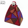Famous Brand Women Red Geometric Pyramid Hot Fixed Crystal Clutch Evening Bags Bridal Wedding Party Handbags Clutches Purse