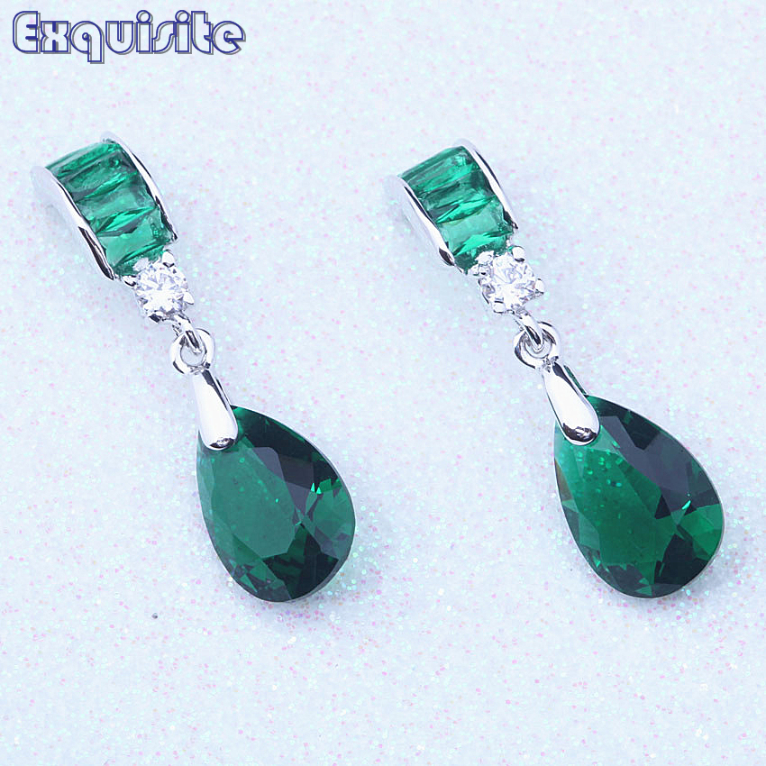 Superb Green Crystal CZ Silver Color Cheap Drop Dangle Earrings boucle doreille femme Party Fashion Jewelry For Women C0039