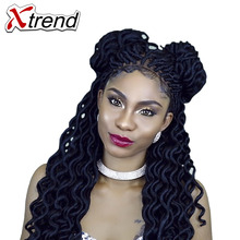 Xtrend Faux Locs Curly Crochet Braid Hair 20inch24roots Synthetic Braiding Hair Extensions Burgundy Black High Temperature Fiber(China)
