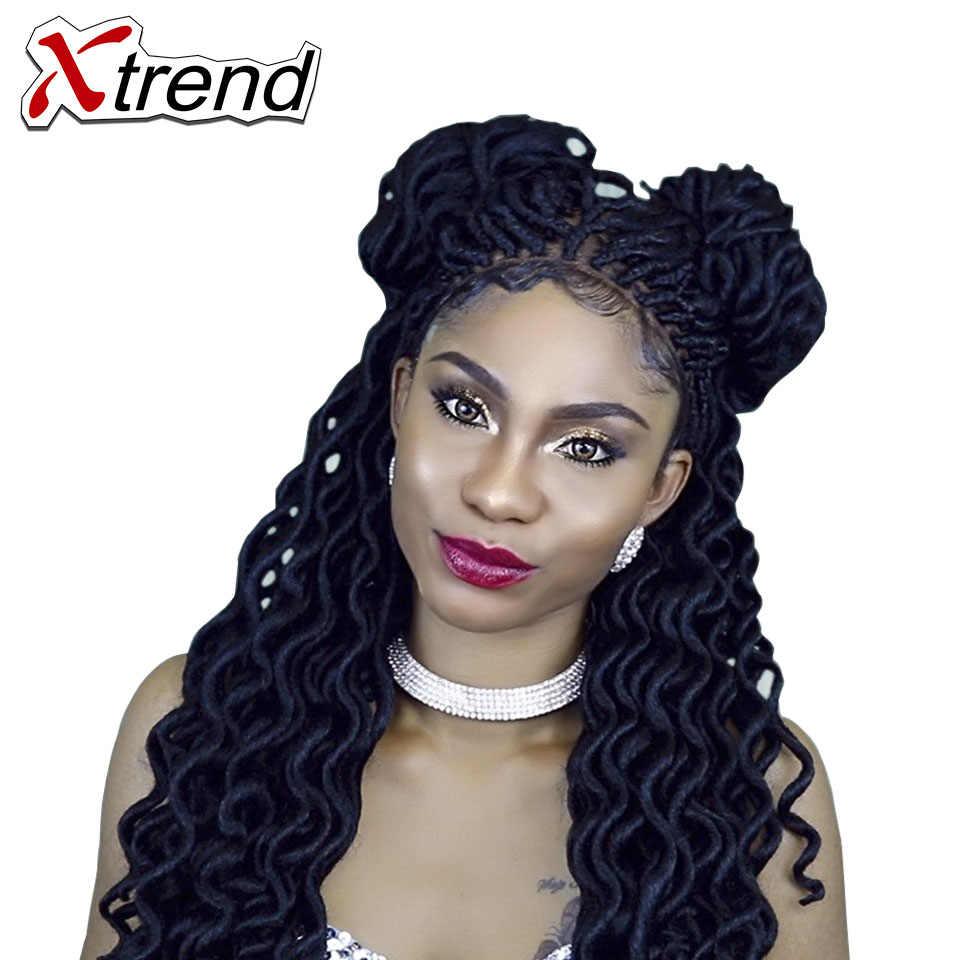 Xtrend Faux locs вьющийся кроше оплетка волос 20inch24roots синтетические плетеные волосы для наращивания Бордовые Черные высокотемпературные волокна