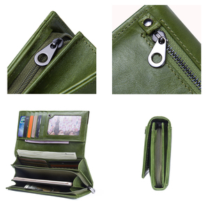 Image 4 - Contacts Genuine Leather Women Wallets Female Long Clutch Photo Holder Wallet Large Capacity Purses With Money Phone Bags