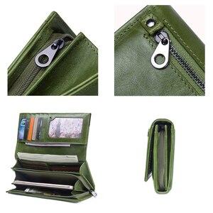 Image 4 - İletişim hakiki deri kadın cüzdan kadın uzun debriyaj fotoğraf tutucu cüzdan büyük kapasiteli çantalar para telefonu çanta