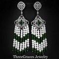 Original russo jóias micro pave criado diamante branco verde pedra de cristal natural mulheres grandes brincos longos para casamento er225