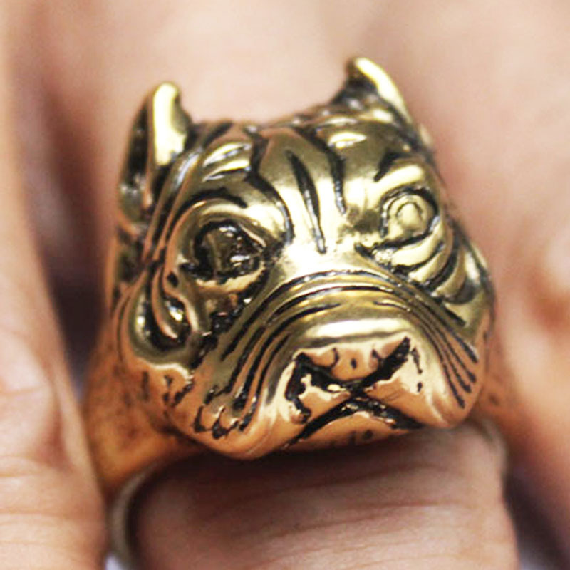 Split Dog Rings Punk Mens Rings French Pitbull Bulldog Animal Jewelry Silver Tone 316L Wholesale Jewelry