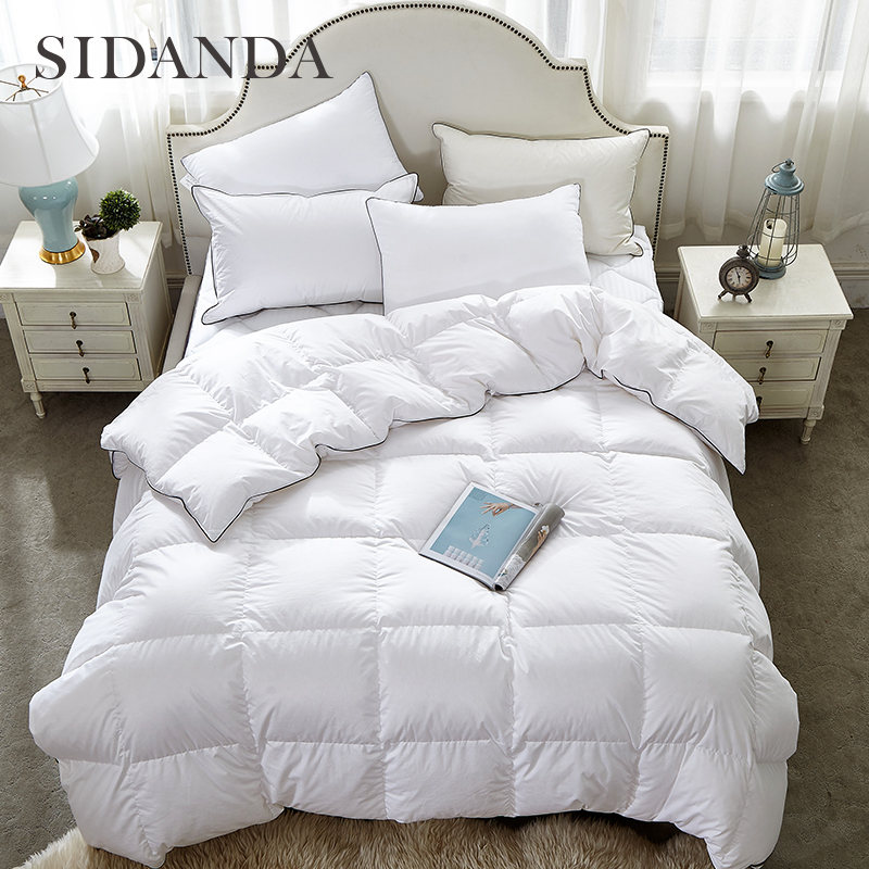 sidanda new 95 white goose down comforter spring autumn quilts feather fabric bedclothes top hotel bedding king size comfoter