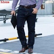 Herfst winter modellen plus size jeans mannelijke 52 yards middelbare leeftijd losse grote maat stretch oversized casual broek 50 size
