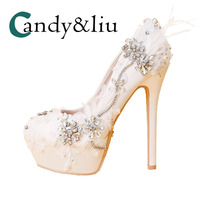 super high heel white lace wedding shoes crystal rhinestones bridal pumps with platform shallow feather shoes for party banquet