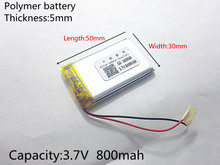 3.7V 800mAh 503050 Lithium Polymer LiPo Rechargeable Battery ion cells For Mp3 Mp4 Mp5 DIY PAD DVD E-book bluetooth headset