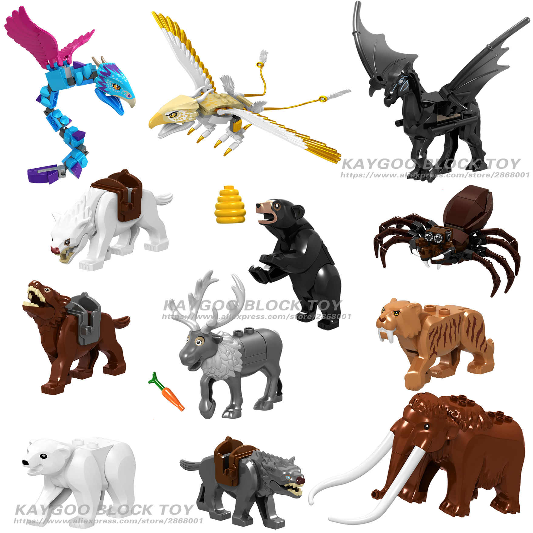 Panther Snow Leopard Single Sale Crocodile Tiger Animal Cow Cattle Horse Shark Building Blocks Set Model Bricks kits Bricks Toys