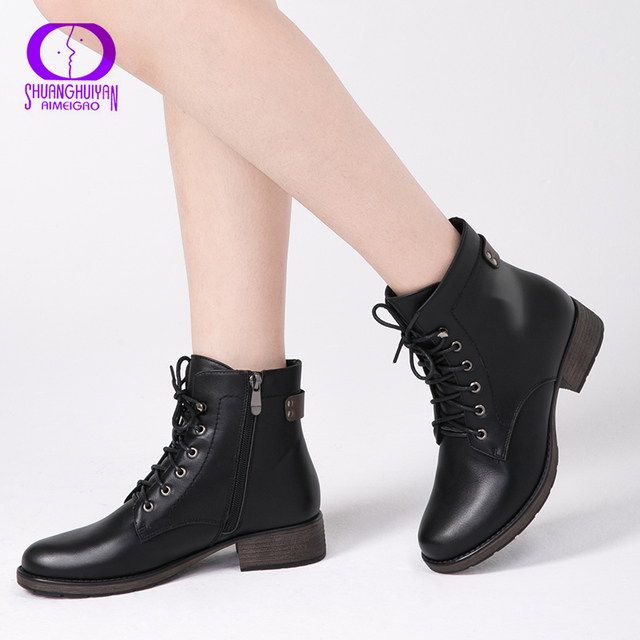 2bec4abcd7e00 AIMEIGAO Round Toe Ankle Boots For Women Lace up Black Color Female Boots  Warm Fur Plush Insole Classic Style Women Shoes