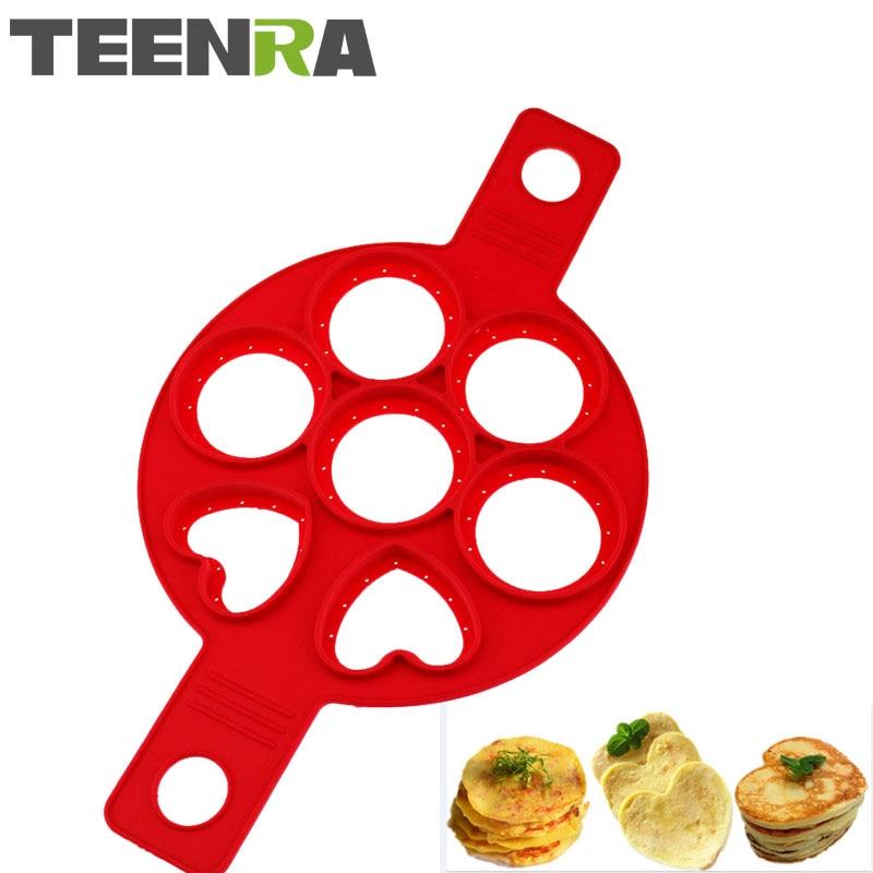 TEENRA 1pcs Crveni doručak Silikonski prsten za palačinke Jaje Maker 7 rupa Silikonski prženi jajaš kalup za palačinke Maker u obliku srca