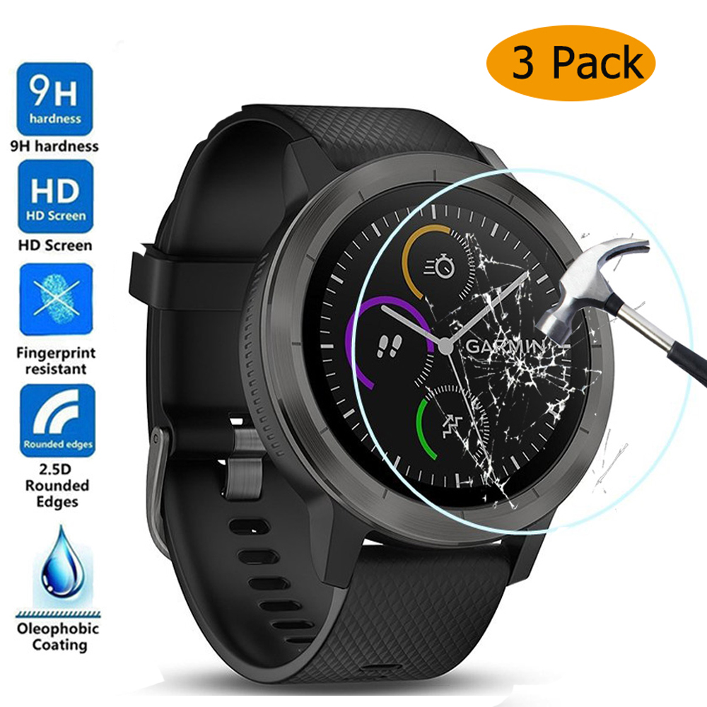 3pcs For Garmin Vivoactive3 Tempered Glass 9H 2.5D Premium HD Full Thin Screen Protector Film For Garmin Vivoactive 3 SmartWatch