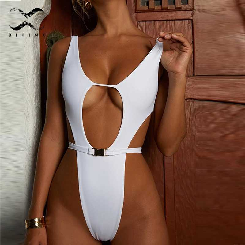 cef16f87817a Bikinx High cut buckle bikini 2019 thong bathers Extreme sexy swimsuit one  piece bodysuit Plus size