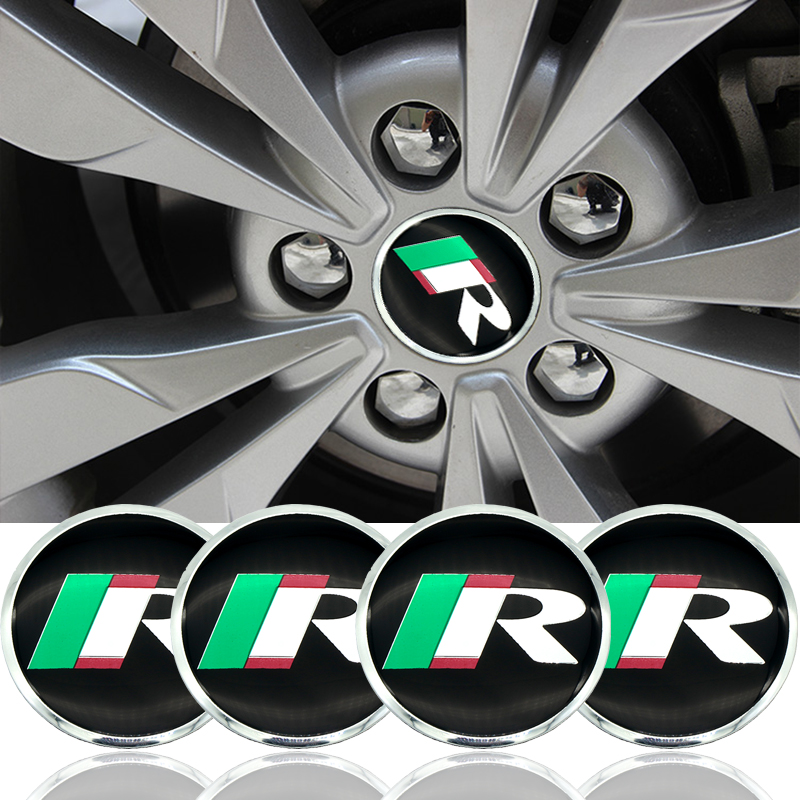 4PCS 56mm Aluminium Alloy Auto <font><b>Car</b></font> R <font><b>Wheel</b></font> <font><b>Hub</b></font> <font><b>Center</b></font> <font><b>Caps</b></font> Emblem Sticker for <font><b>Skoda</b></font> YETI OCTAVIA FABIA Superb JETTA <font><b>Car</b></font> Styling image
