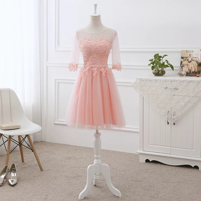 A-line Half Sleeve Lace Tulle Short   Evening     Dresses   Elegant Pink/Geay/Blue/Champagne Party   Dress     Evening   Gown DR06S