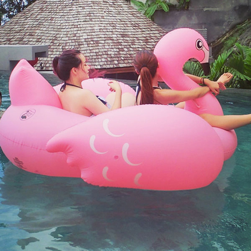 70inch 190cm Giant Inflatable Flamingo Ride-On Pool Floating Raw Water Toys Swim Ring for Adult Child Air Mattress Chair Lounger