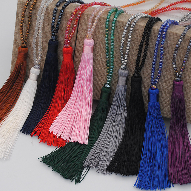 Exknl Brand Long Tassel Necklace For Women Statement Style Bohemian Necklace Collier Maxi Pendants Necklace Handmade Jewelry