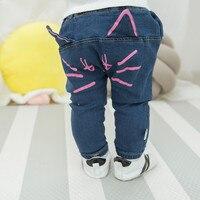 מכנסיים ג 'ינס תינוק סתיו בגדי תינוק חדש מכירה חמה חמוד עיצוב חתול ילדים בנות בני ילדי מכנסי הרמון מכנסי פעוט בגדים