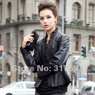 Free Shipping 2014 Spring New Arrival Ladies' Genuine Lamb Leather Slim Coat With Silk Rim#11119