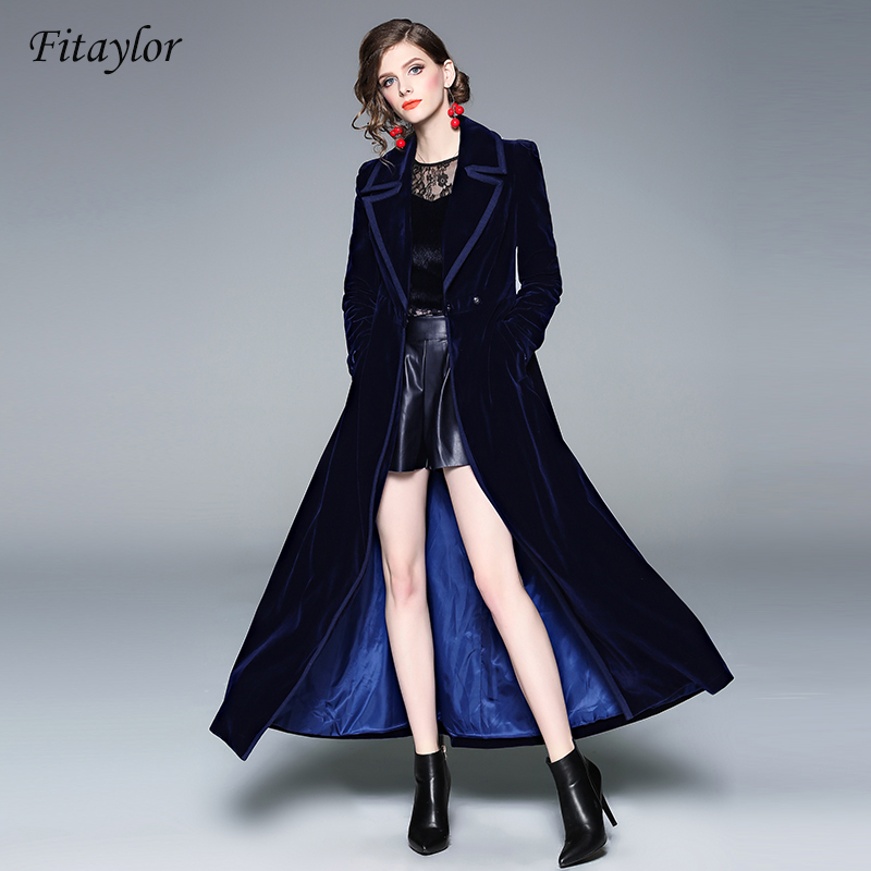 Fitaylor Velvet Women's Windbreakers Long Sleeve Lace Up Maxi   Trench   Coat Female Fashion Navy Blue Outerwear