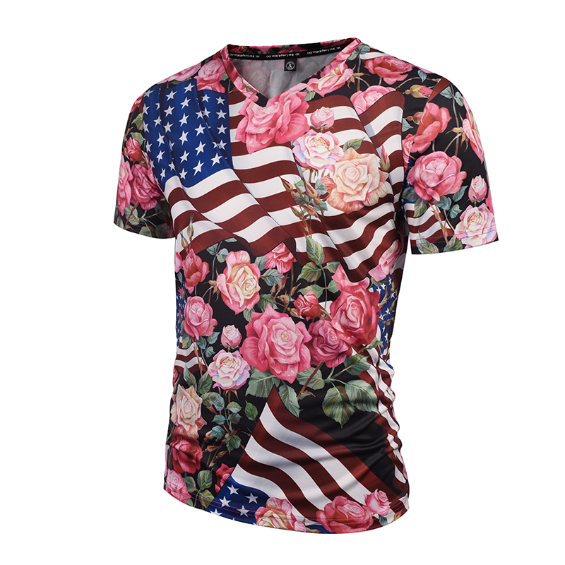 Hot Sal New  Fashion Brand Tshirt Men/Women 3d T-shirts V-neck Print USA Flag Skulls Roses Flowers Graphic T shirt Summer Tees