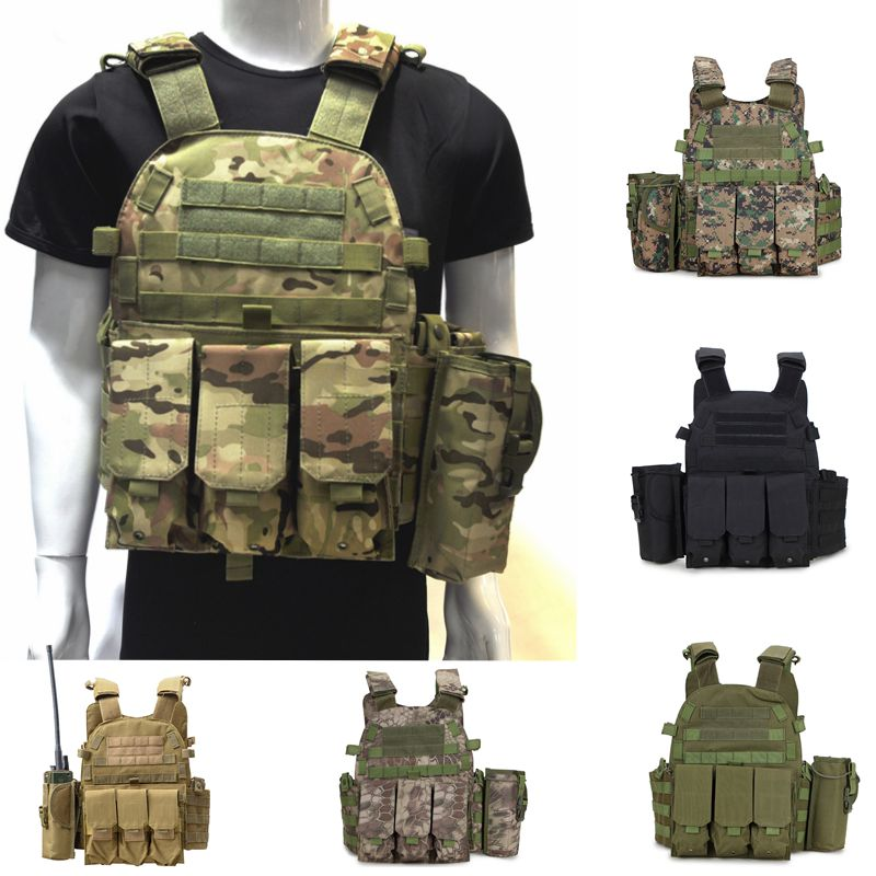 Military Camouflage Army Airsoft Molle Vest Tactical Combat Hunting Vest CS Wargame Plate Carrier Military Gear шапка женская marhatter цвет темно бежевый mwh6540 размер 56 58