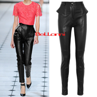 Spring Fashion Brand Patent Leather Pu Pants Female 2017 Winter Was Thin High Waist Leisure Shiny