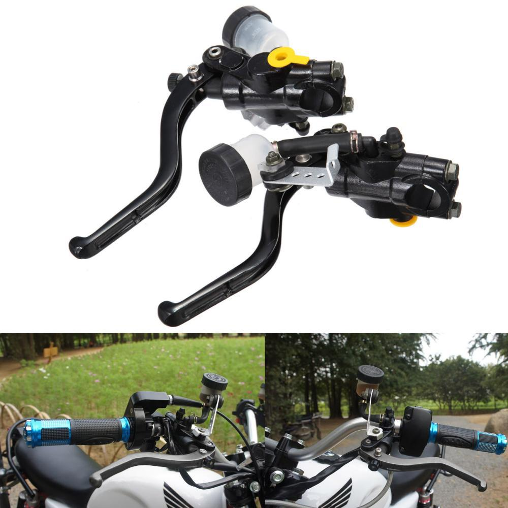 Universal CNC 7/8 22mm Black Motorcycle Brake Clutch Levers Master Cylinder Reservoir Set For Honda Suzuki Kawasaki Yamaha New for honda kawasaki suzuki yamaha 125cc 400cc 7 8 22mm universal brake clutch pump master cylinder kit reservoir levers new set
