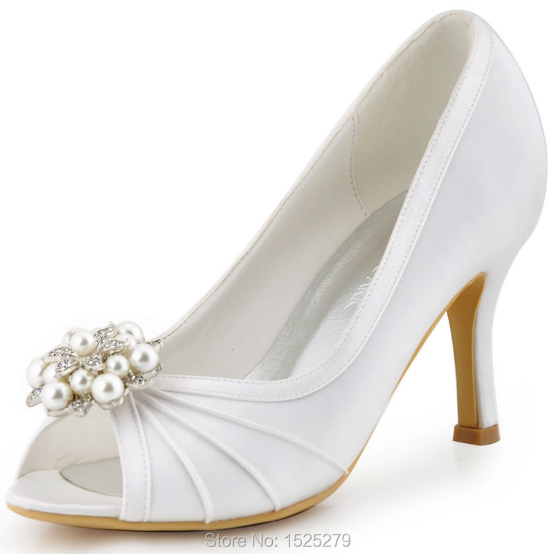 EP2094AE Navy blue Teal Women Evening Party Pumps High Heel Peep Toe Satin Bride Bridesmaids Bridal Wedding Shoes Ivory White pop relax led photon tourmaline massage mat far infrared light therapy stone pad electric health care heating germanium mattress