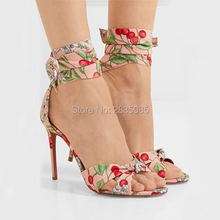 f2ee34d63bbb7 Qianruiti New Design Summer Shoes Cherry Prints Floral Canvas Sandals Women  Ankle Strap Open Toe Sexy