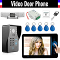 "7"" Wireless Video Door Phone Kit with Code KRFID Keyfobs Electronic Strike Lock wireless controller Video  Doorbell Intercom"