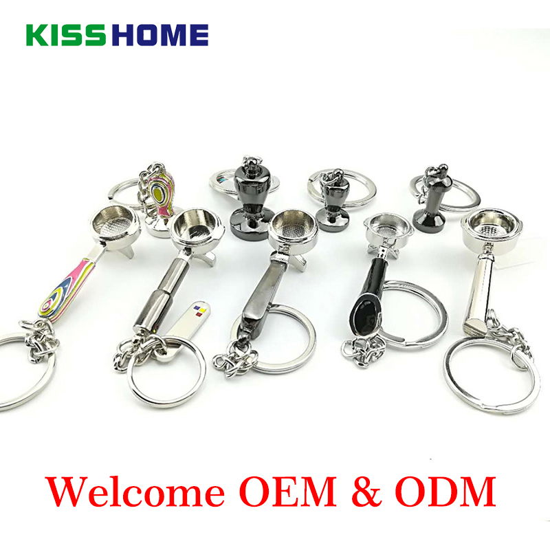 Zinc Alloy Coffee Tamper Handle Keychain Portable Keyring Coffeeware Tools Promotion Gifts Barista Espresso Coffee Accessories