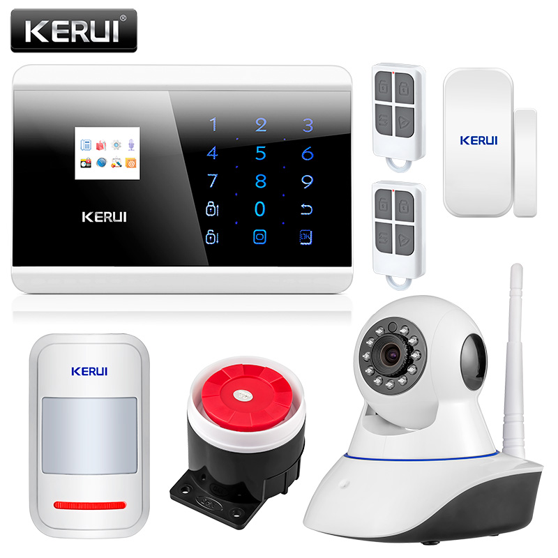 KERUI 8218G APP IOS Android GSM PSTN Dual Wireless Home Alarm Security System English Russian Spanish French Voice Touch keypad free shipping guard english french app wireless gsm pstn phone alarm security system built in speaker for intercom security