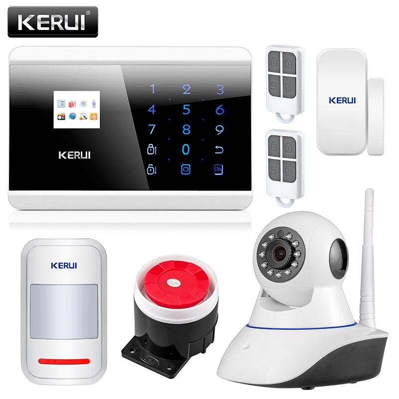 KERUI 8218G APP IOS Android GSM PSTN double système de sécurité d'alarme à domicile sans fil anglais russe espagnol français clavier tactile vocal