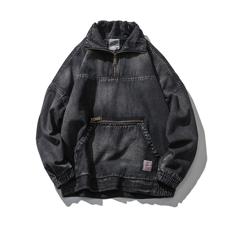 ABOORUN Retro Mens Oversized Denim Jackets Front Pockets Black Patchwork Jeans Jackets Autumn Casual Coat for Male x1033