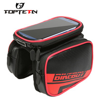 TOPTETN Bike Frame Tube Bag Waterproof Windproof Bicycle Package Touch Screen Design For 6 2inch Cell
