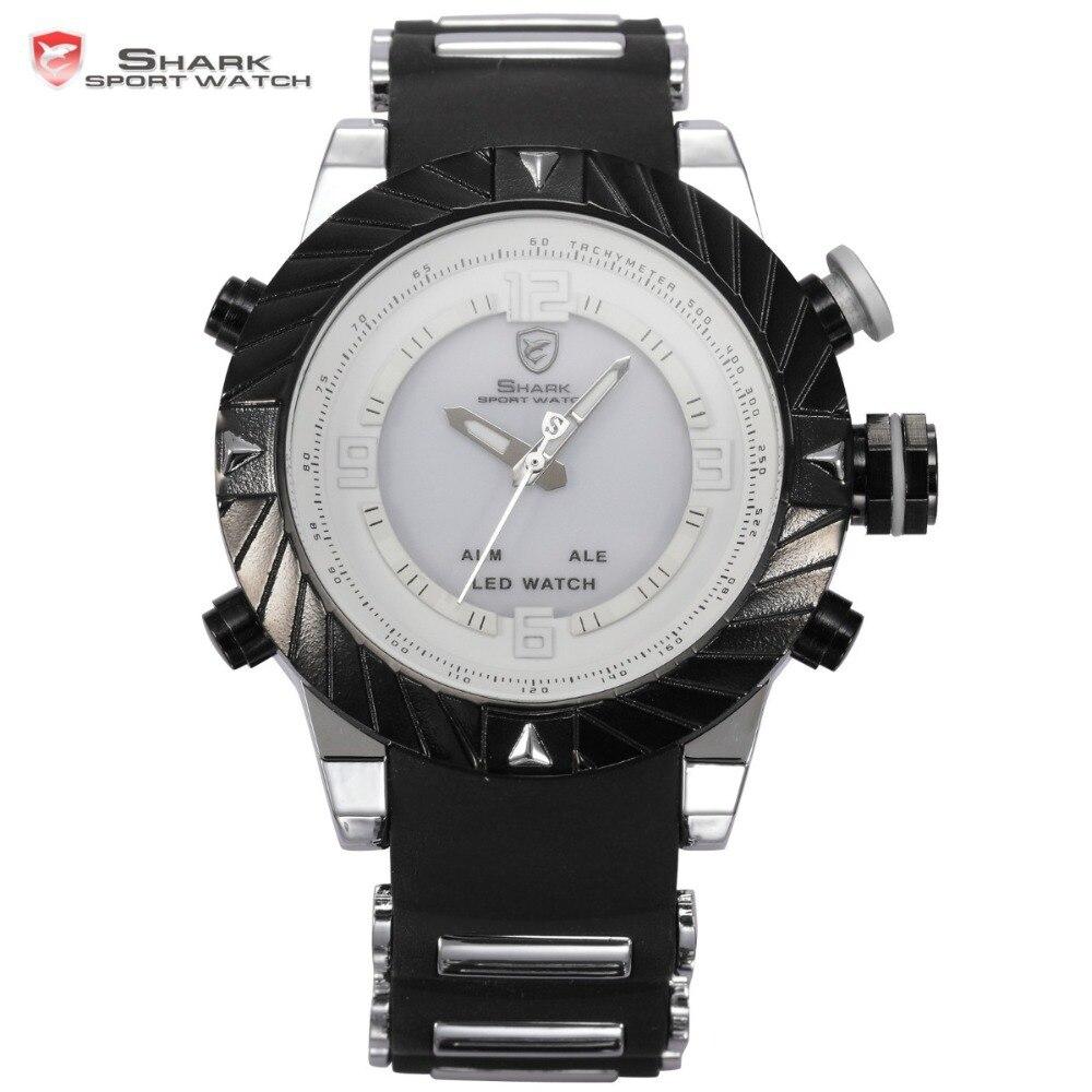 ФОТО SHARK Sport Watch Brand LED Display Multiple Timezone Alarm Black Silicone Strap Relogio Masculino Men Military Quartz / SH167