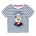 BK-484, 4 unids/lote, popeye, verano de Los Niños camisetas del muchacho, franja de dibujos animados manga corta camiseta