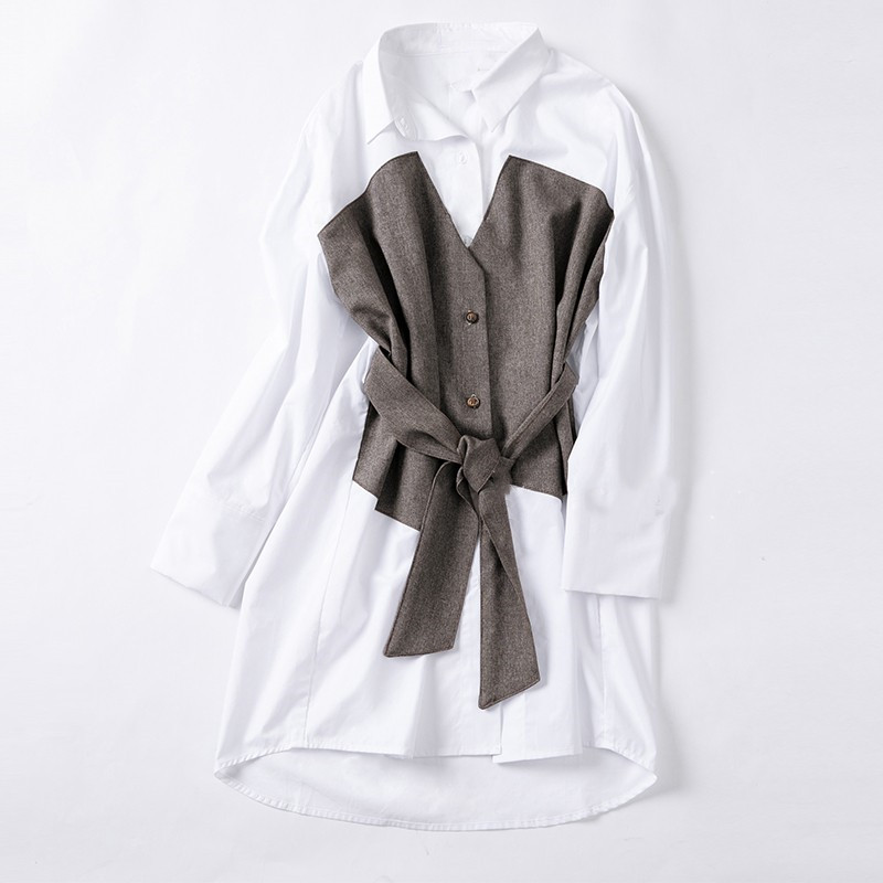 Mode 2019 femmes irrégulier noeud Patchwork faux deux pièces Blouse blanc couleur correspondant longue chemise
