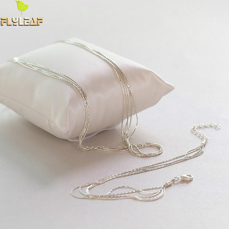 925 Sterling Silver Multilayer Chain Necklace For Women Kvinnor Enkel - Märkessmycken - Foto 5