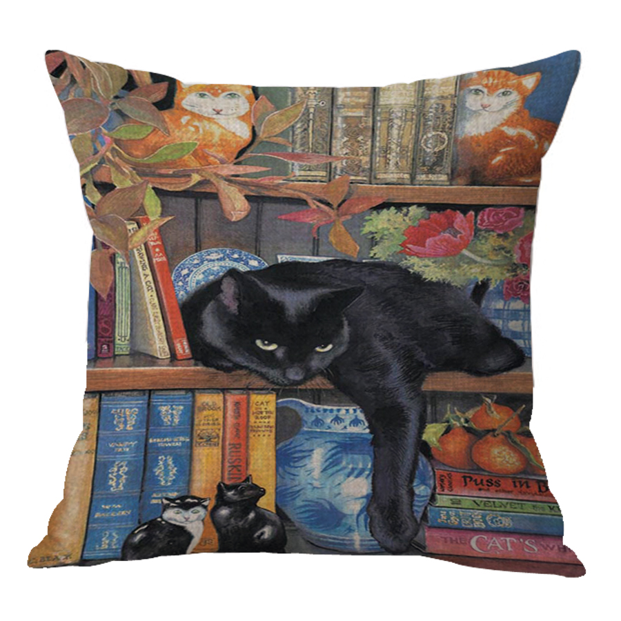 Factory Direct Supply New Cute Cartoon Anime Printed Cotton Linen Pillow Home Baby Room Decor Cat Cushion For Kids Gift