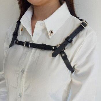 Nueva punk Gothic Harajuku estilo hecho a mano Faux cuero mujeres cinturones Correas arnés Cuerpo bondage ropa Accesorios