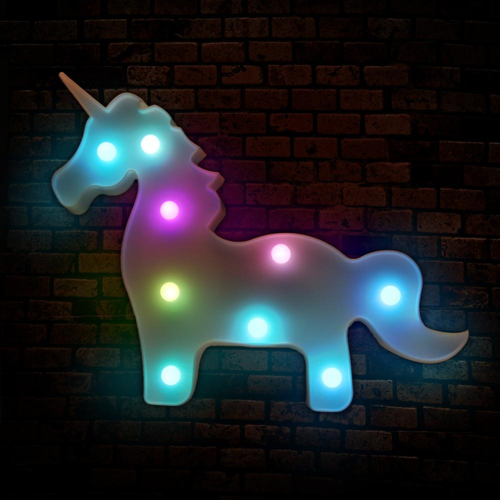 LED Night Light Unicorn Table Lamp Christams Tree Lampada Led Animal Marquee Stand Light on Wall Children Party Decor Gift Toys