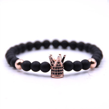 Crown Bracelet Men Women New Fashion Charm Bracelet Lava Stone Bead Bracelet Men Luxury Jewelry Gift crystal bead and crown bracelet safety chain luxury strand bracelet