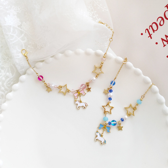Japan Unicorn Bowknot with Beads Moon Star Crystal Bracelet