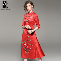 Spring Autumn Woman Dress Floral Butterfly Pattern Embroidery Black Red Chinese Style Dress Vintage Calf Length