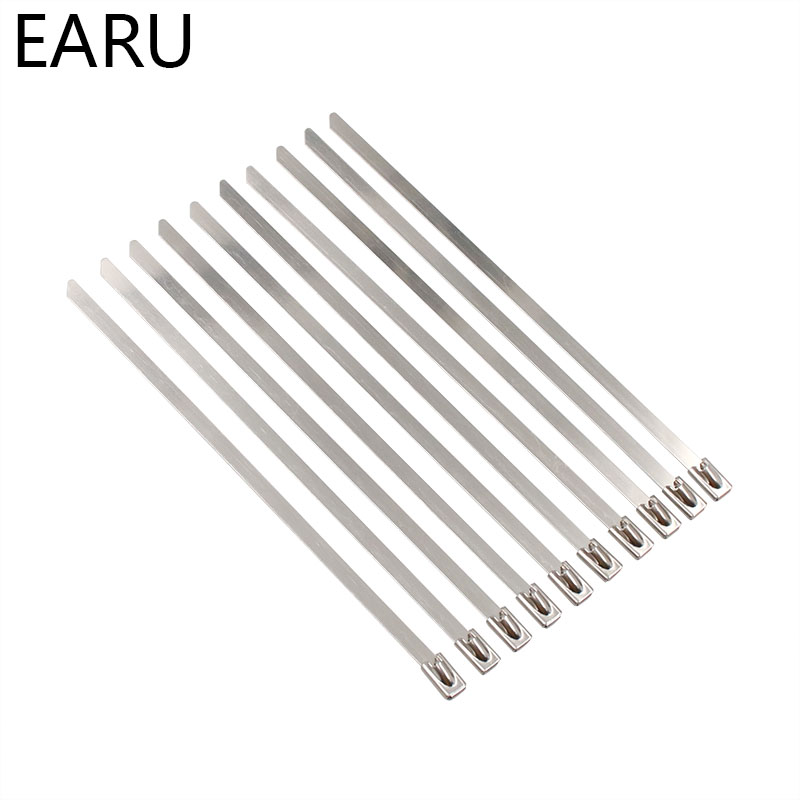 10PCS STAINLESS STEEL METAL CABLE TIES TIE ZIP WRAP EXHAUST HEAT STRAPS INDUCTION PIPE