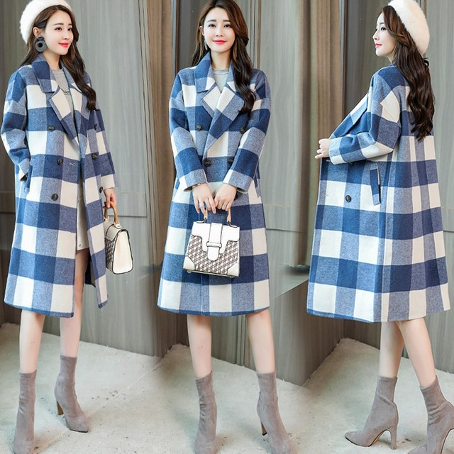 Women's Double-breasted Plaid Woolen Coat Blue Check Overcoat