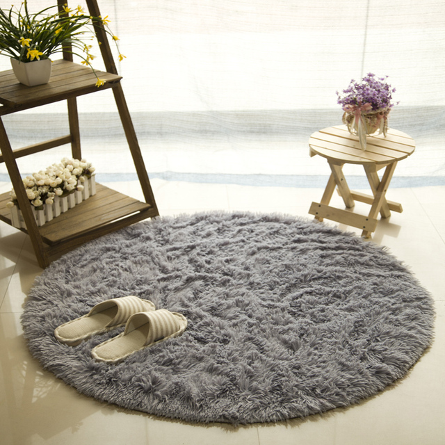 Solid Color Round Carpet For Living Room Large Size Shaggy Faux Fur