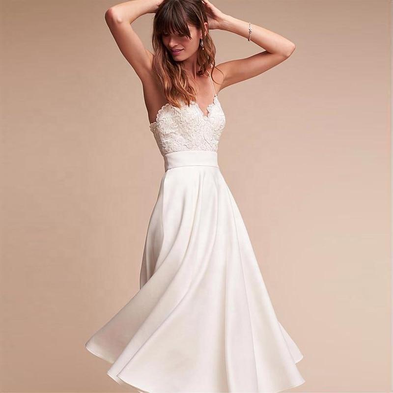 New Simple Beach Wedding Dresses 2019 Satin Elegant Lace